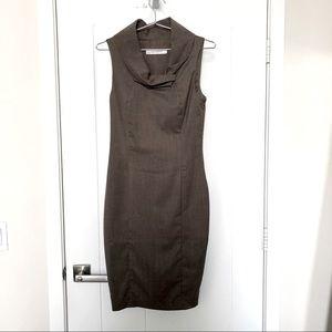 Zara Cowl Neck Fitted Wool Blend Dress SZ S